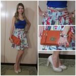 Look do Dia: Azul Klein + Floral (Color Block)