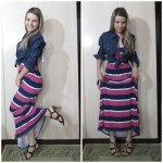 Look do dia: Vestido Longo Navy Pink+ Camisa Jeans